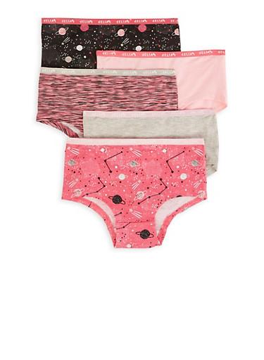 Girls 7-16 Pack Of Space Print Panties,MULTI COLOR,large