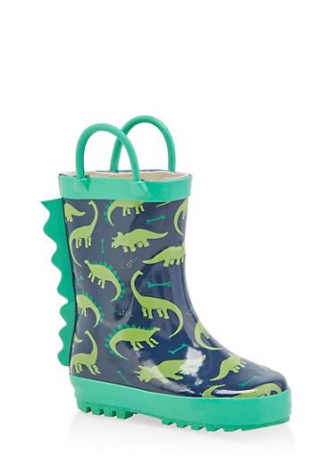 Girls 5-6 Spike Detail Printed Rain Boots,GREEN,large