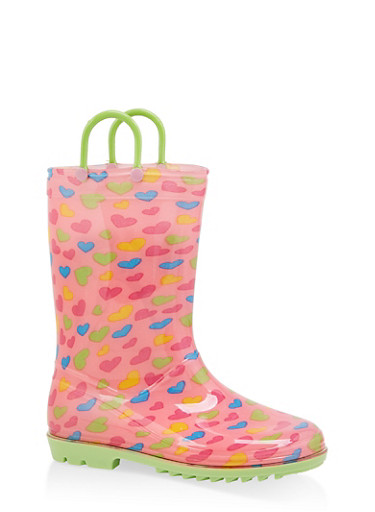 Girls 11-3 Heart Rain Boots,MINT,large