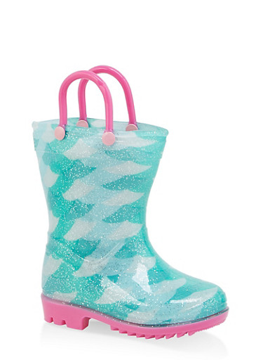 Girls 5-10 Printed Contrast Detail Rain Boots,MINT,large