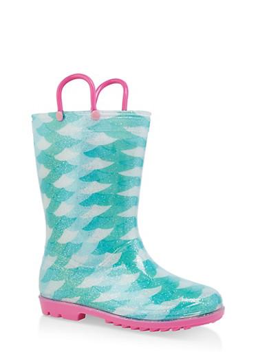 Girls 11-3 Printed Rain Boots,MINT,large