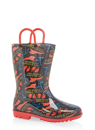 Girls 11-3 Printed Rain Boots,BLACK,large