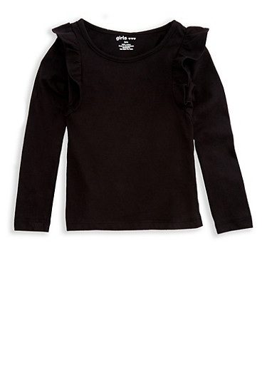 Girls 4-6x Long Sleeve Top with Ruffles,BLACK,large