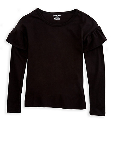 Girls 4-6x Long Sleeve Ruffled Top,BLACK,large