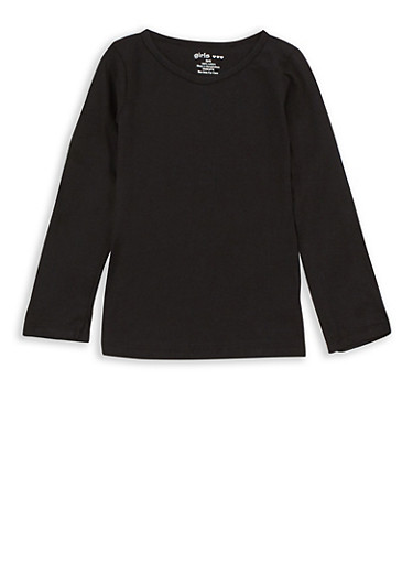 Girls 4-6x Long Sleeve Solid Top,BLACK,large