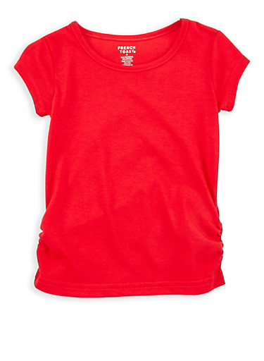 Girls 4-6x French Toast Ruched Side Top,RED,large