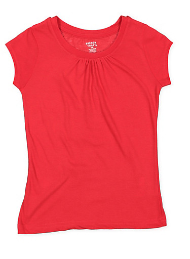 Girls 7-16 French Toast Shirred Tee | Red,RED,large