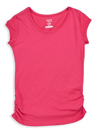 Girls 7-16 French Toast Ruched Side T Shirt,FUCHSIA,large