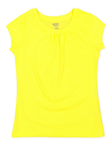 Girls 7-16 French Toast Shirred Tee,YELLOW,large