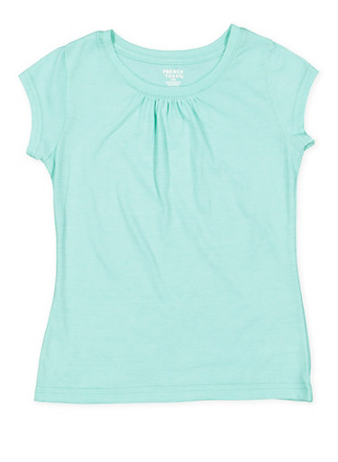 Girls 7-16 French Toast Shirred Tee,AQUA,large