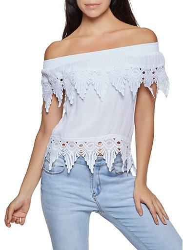 Crochet Trim Gauze Knit Off the Shoulder Top,WHITE,large