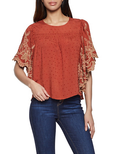 Embroidered Sleeve Top,BEIGE,large