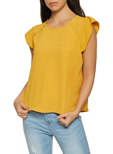 Cap Sleeve Button Detail Blouse,MUSTARD,large
