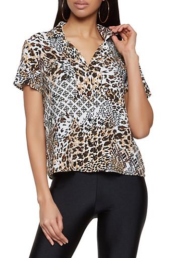 Mixed Print Short Sleeve Shirt,BLACK,large