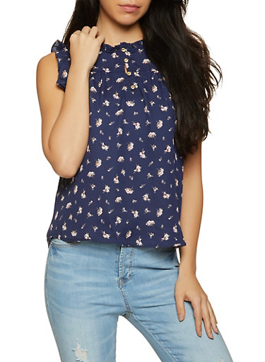 Half Button Sleeveless Floral Blouse,NAVY,large