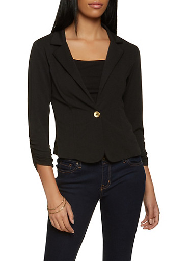 One Button Ruched Sleeve Blazer,BLACK,large
