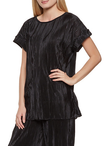 Pleated Satin Short Sleeve Top,BLACK,large