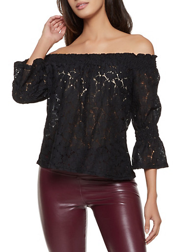 Crochet Off the Shoulder Top,BLACK,large