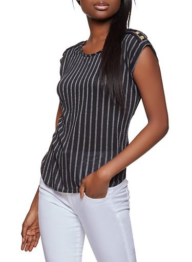 Striped Tab Shoulder Top,BLACK,large