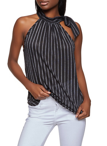 Striped Tie Detail Top,BLACK,large
