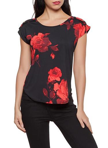 Floral Button Detail Top,BLACK,large