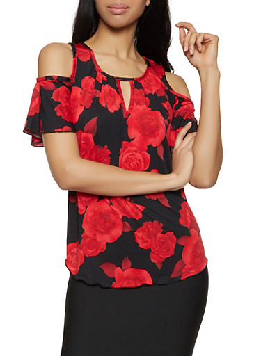 Floral Cold Shoulder Keyhole Top,BLACK,large