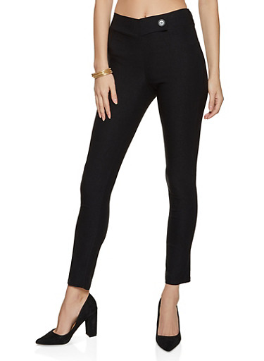 Skinny Tabbed Waist Dress Pants,BLACK,large