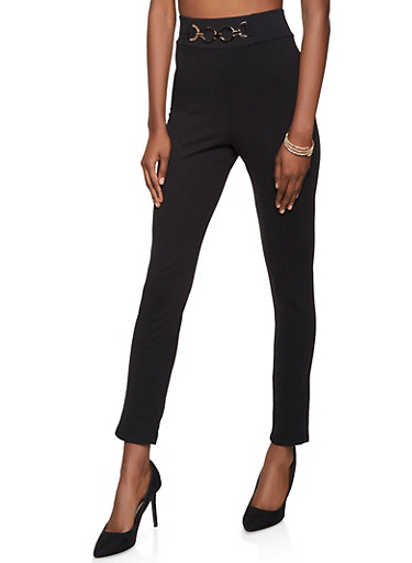 Metallic Loop Detail Dress Pants,BLACK,large
