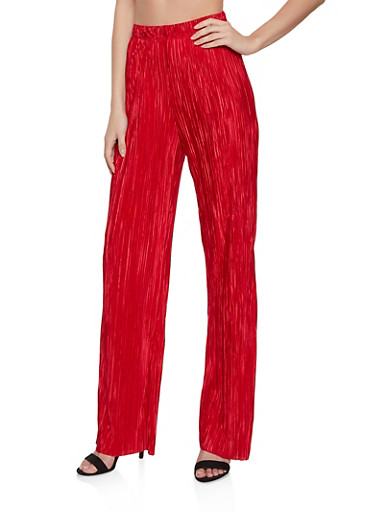 Pleated Satin Palazzo Pants,RED,large