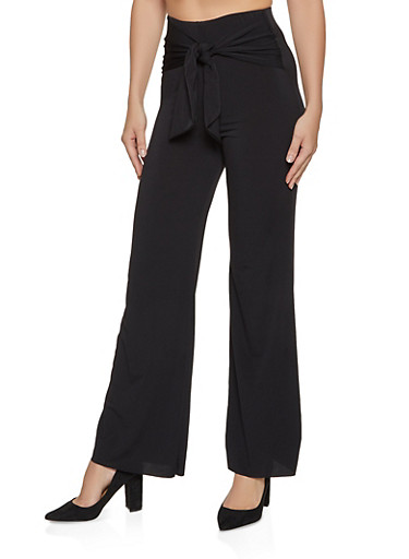 Tie Front Wide Leg Dress Pants,BLACK,large
