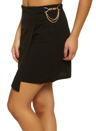 Faux Wrap Mini Skirt,BLACK,large
