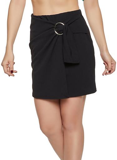 Crepe Faux Wrap Mini Skirt,BLACK,large