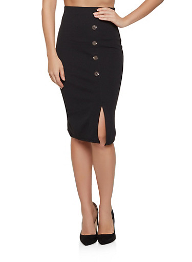 Crepe Button Detail Pencil Skirt,BLACK,large