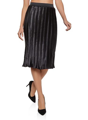 Pleated Satin Midi Skirt,BLACK,large