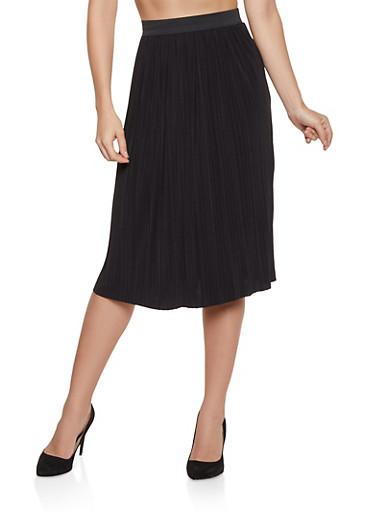 Pleated Midi Skater Skirt,BLACK,large