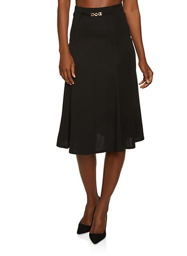Chain Link Detail Skater Skirt,BLACK,large