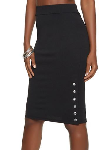 Rhinestone Button Crepe Knit Pencil Skirt,BLACK,large