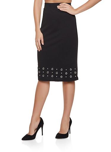 Grommet Detail Pencil Skirt,BLACK,large