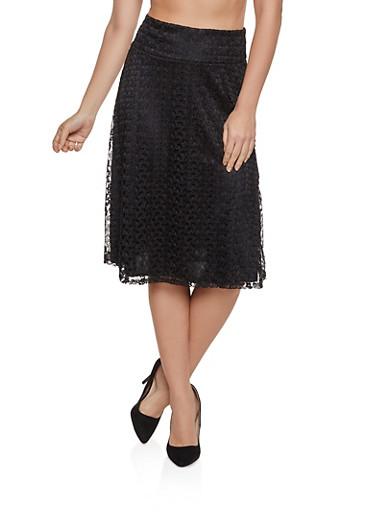 Lace Skater Skirt,BLACK,large