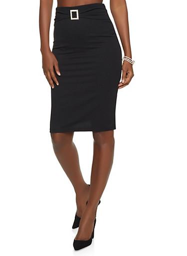 Rhinestone Buckle Detail Pencil Skirt,BLACK,large