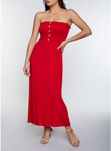 Smocked Button Detail Maxi Dress,RED,large