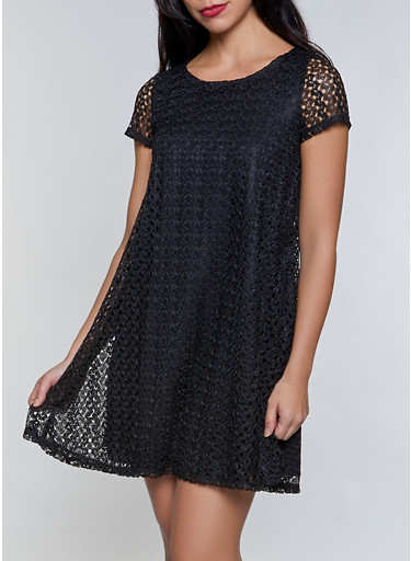 Short Sleeve Crochet Dress,BLACK,large