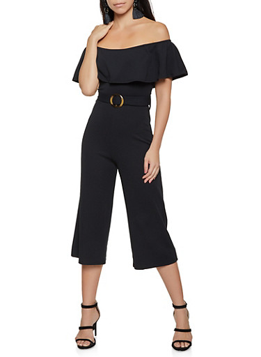 Belted Cropped Off the Shoulder Jumpsuit,BLACK,large