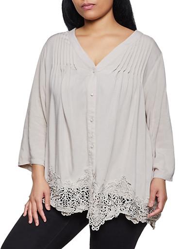 Plus Size Crochet Trim Button Front Blouse,KHAKI,large