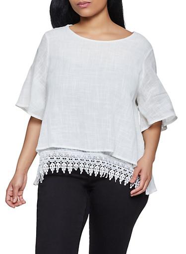 Plus Size Crochet Hem Scoop Neck Top,IVORY,large