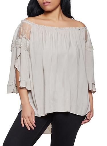 Plus Size Off the Shoulder Split Sleeve Top,KHAKI,large