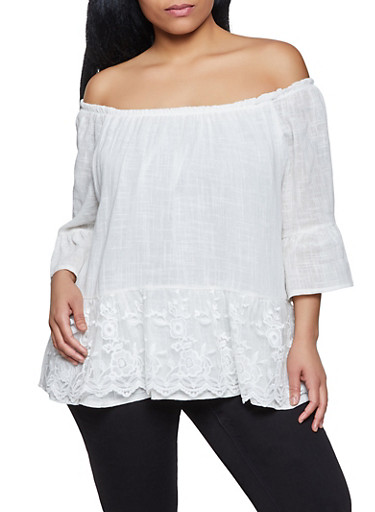 Plus Size Off the Shoulder Embroidered Mesh Trim Top,IVORY,large