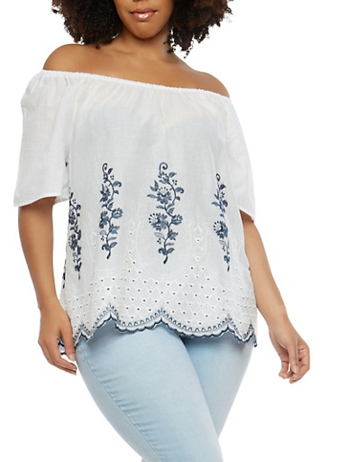 Plus Size Embroidered Off the Shoulder Top,WHITE,large