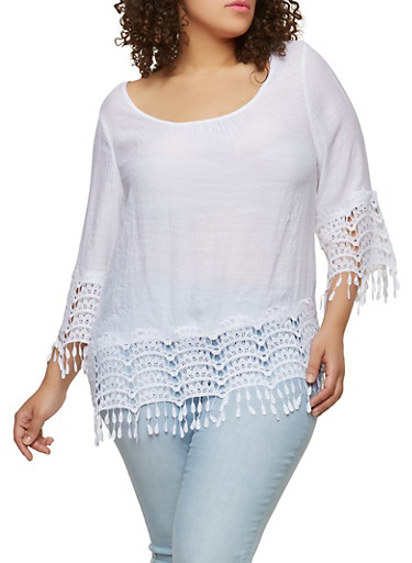 Plus Size Crochet Trim Peasant Top,WHITE,large