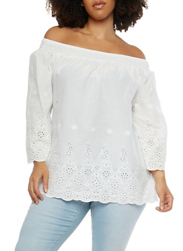 Plus Size Off the Shoulder Peasant Top,WHITE,large